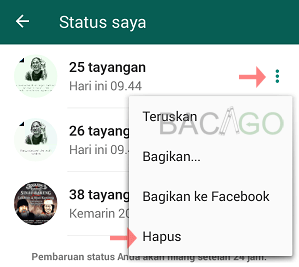 cara menghapus status di whatsapp yang sudah terkirim
