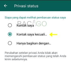 cara menyembunyikan status wa dari seseorang
