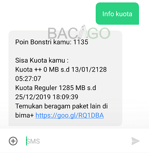 kode cek kuota 3 harian sms